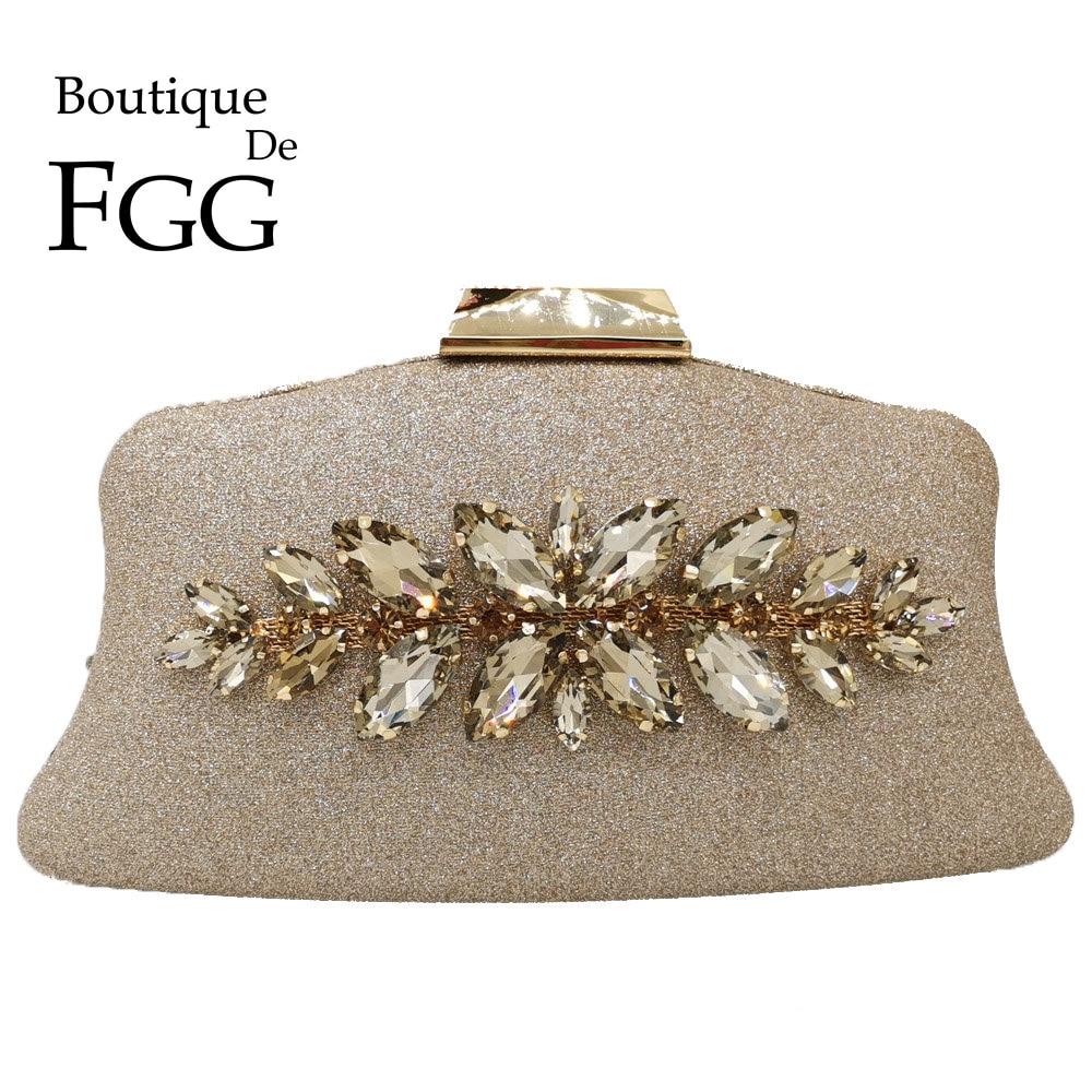 Boutique De FGG Glitter Women Clutch Crystal Evening Bags Bridal Formal Dinner Purses And Handbags Wedding Party Diamond Bag