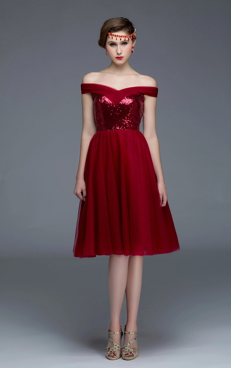 1b7c1969e350 Customized Size Burgundy Semi Formal Dress Off Shoulder Sequin Tulle Knee  Length Teens Homecoming Dress