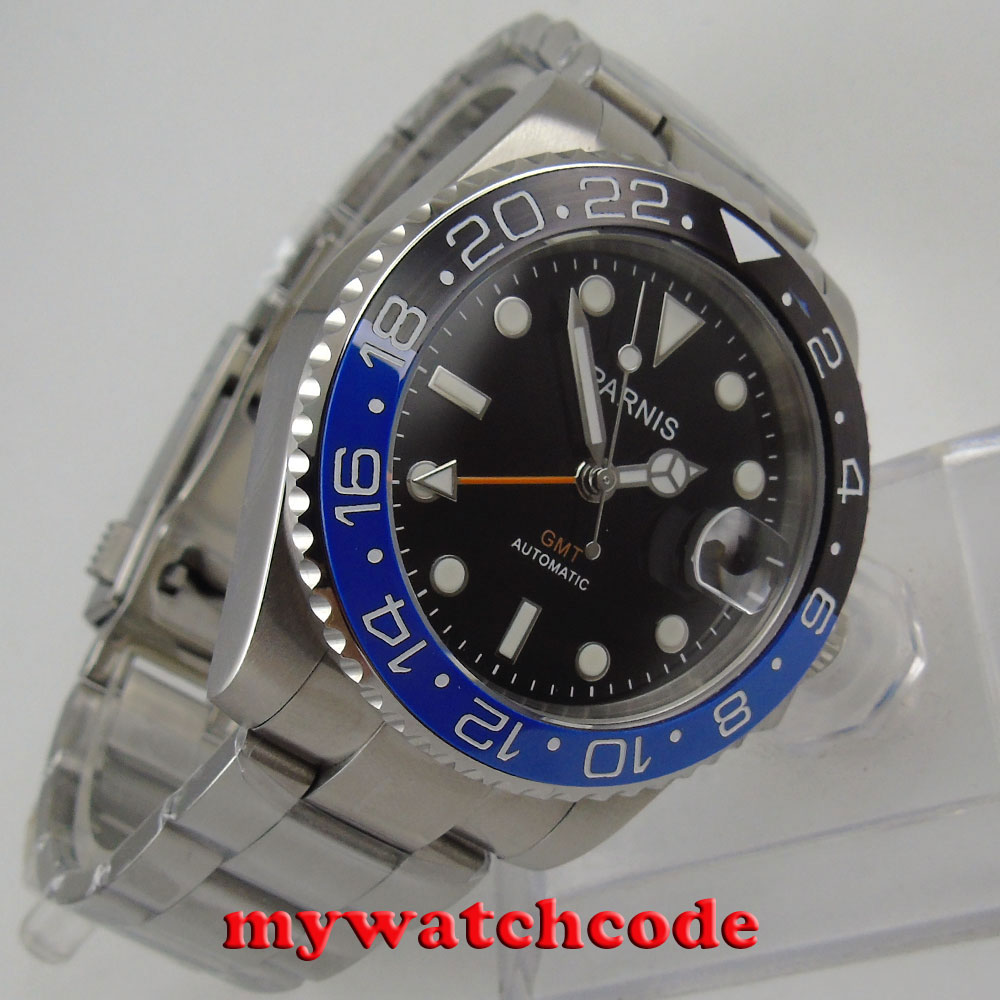 40mm Parnis black dial Sapphire glass GMT date window automatic mens watch P877