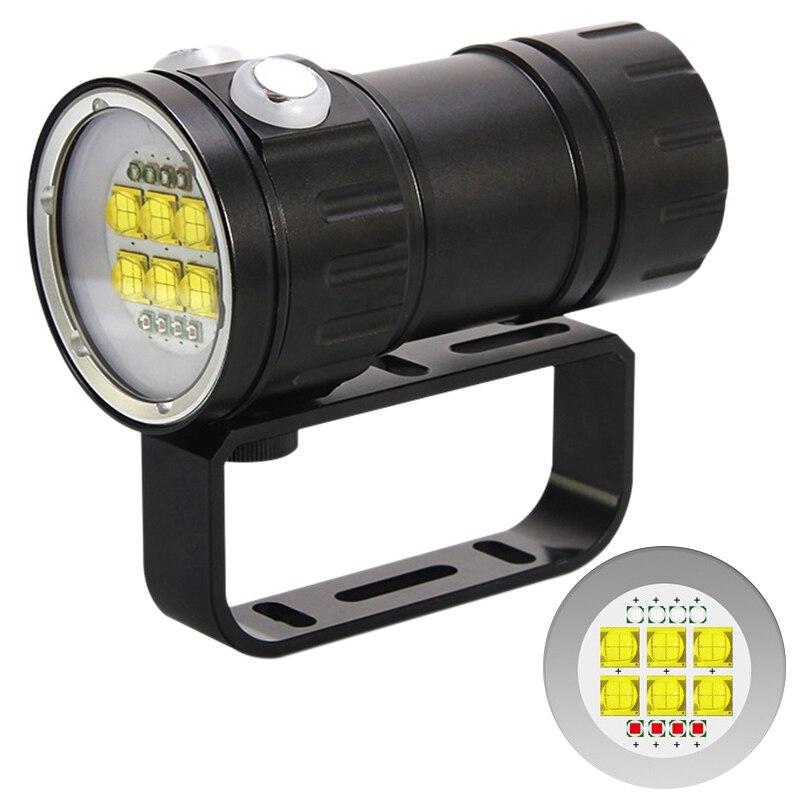 500W professionnel photographie remplir lumière plongée lampe de poche rouge bleu lumière éblouissante haute puissance sous-marine 80 mètres Ipx8