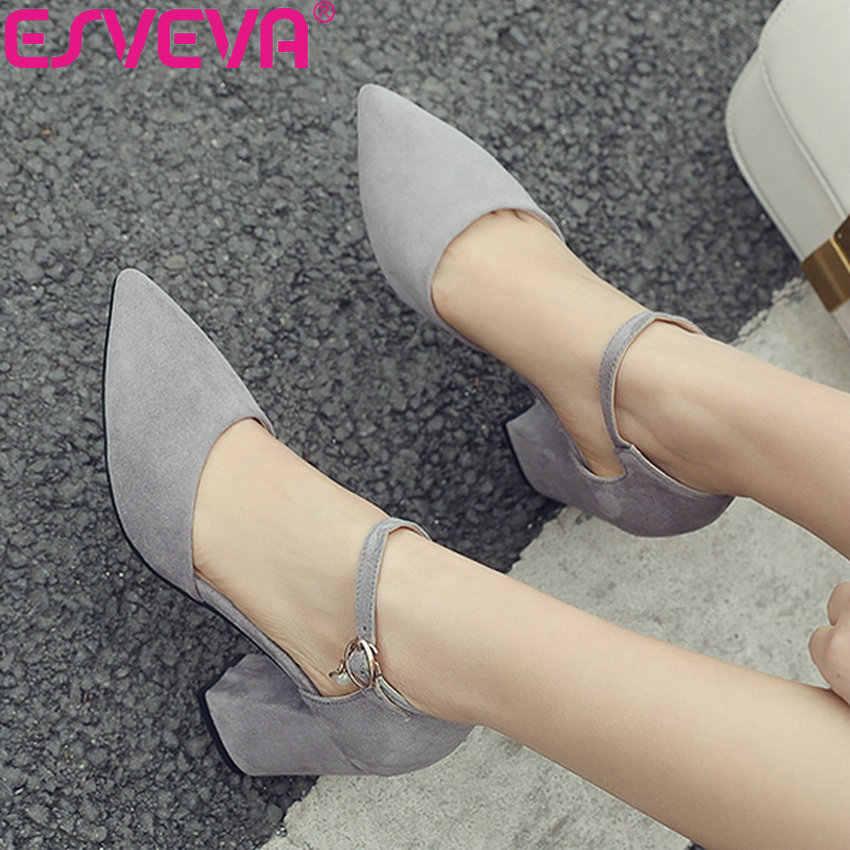 ESVEVA 2019 kadın pompaları akın kare yüksek topuklu zarif sığ ayakkabı pompaları iki parça sandalet sivri burun kadın ayakkabı boyutu 34-43