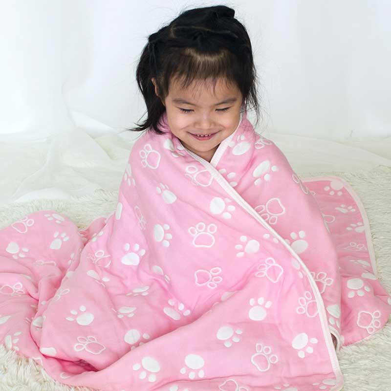 Baby Blanket Newborn Muslin Cotton Thick Swaddle Quilt Kids Bath Towel Toy Mat 110*110cm