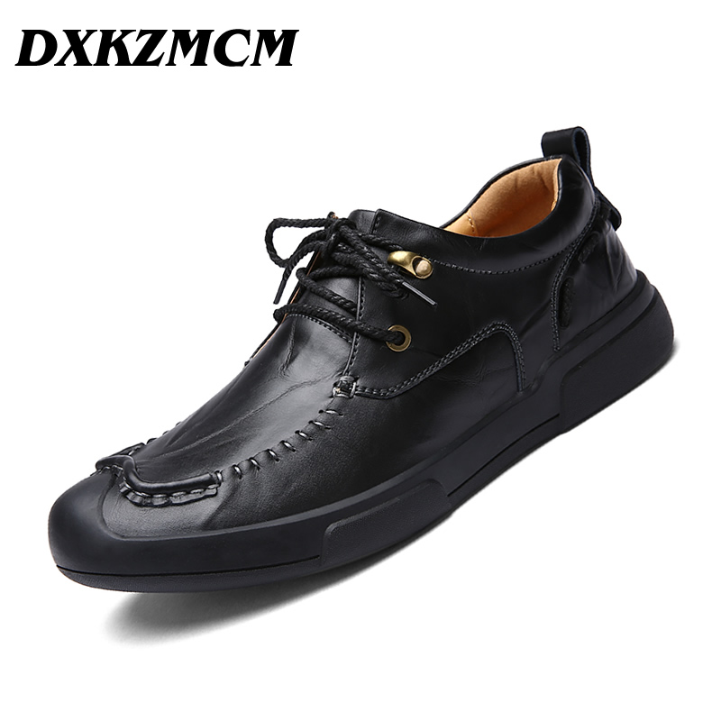 DXKZMCM Handmade Genuine Leather Men Shoes, Autumn Business fashion Men Casual Shoes, Brand Shoes Men dxkzmcm genuine leather men loafers comfortable men casual shoes high quality handmade fashion men shoes