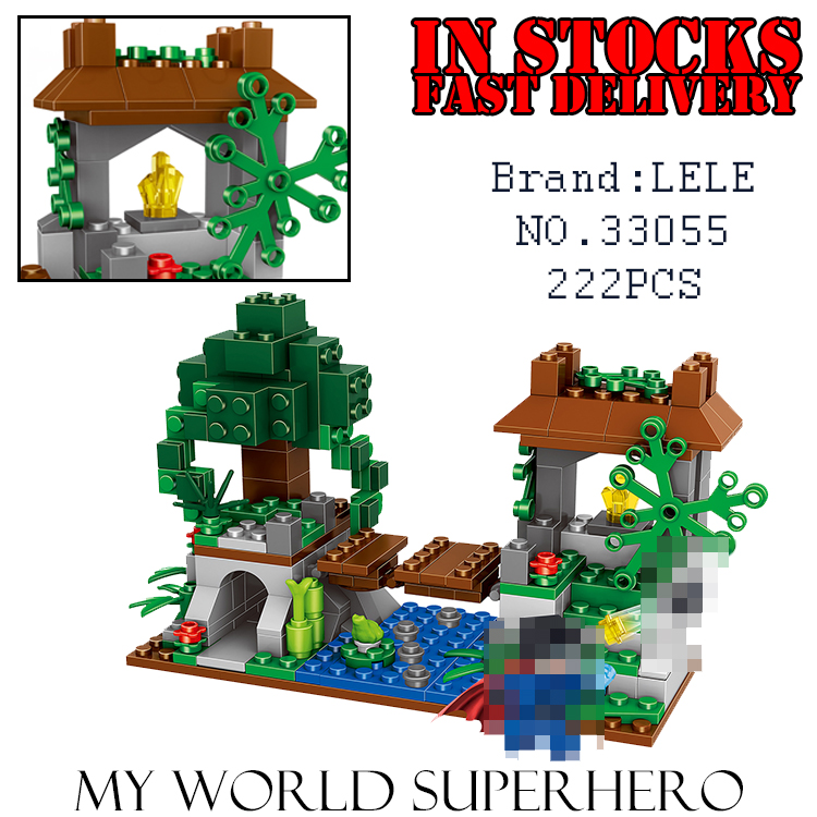 LELE My World Minecraft 33055 Jungle Tree House Super Heroes Building Blocks Bricks action figures toys for children brinquedos lepin 18003 my world series the jungle tree house model building blocks set compatible original 21125 mini toys for children