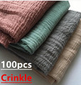 H11 100pcs solid crinkle cotton viscose hijab  shawl scarf  180*90cmcan choose colors
