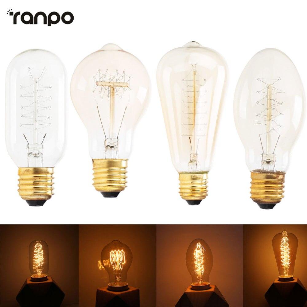 E27 40w Vintage Retro Filament Edison Tungsten Light Bulb: E27 40W Edison Bulb ST64 A19 C55 Vintage Retro Carbon Bulb