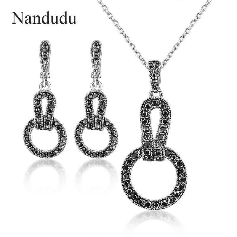 d4bcf540fed19 Nandudu lady marcasite Jewelry set black circle necklace earring fashion  jewelry gift for women N1342