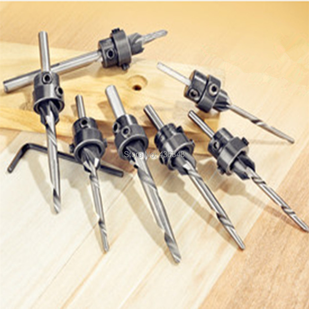 Tools 7pcs Adjustable 1/8 9/64 5/32 11/64 3/16 13/64 7/32 Tapered Countersink Drill Deep Drilling Woodworking Tool Hand & Power Tool Accessories