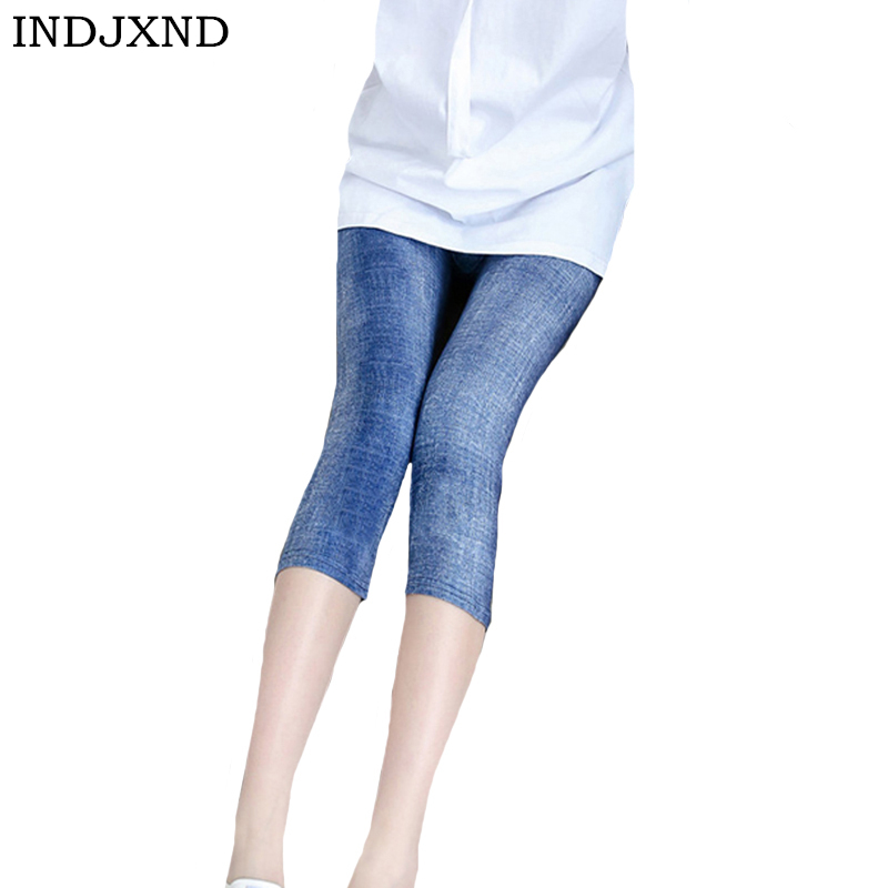 INDJXND Short Jeans Leggings for Women High Waist Elastic Denim   Capri     Pants   Imitation Cowboy Slim Fitness Denim Blue Leggins