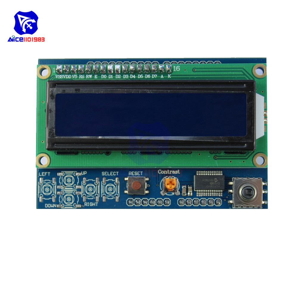 1602LCD 1602 LCD Shiled IIC I2C MCP23017 5 Keypad 16x2 Character LCD Display Module For Arduino UNO Brightness Adjustable