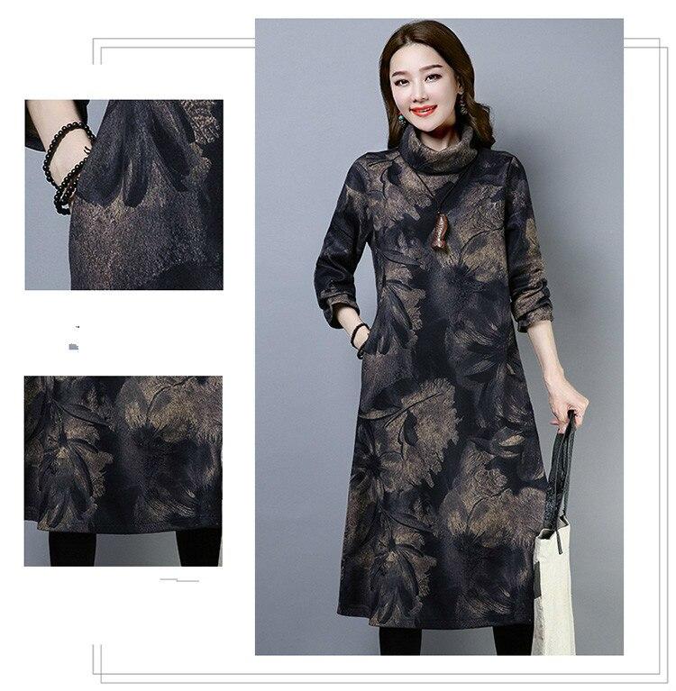 2019 New Women Spring Autumn Dresses Turtleneck Printed Female Long Sleeve Vintage Robe Dress Vestido 59