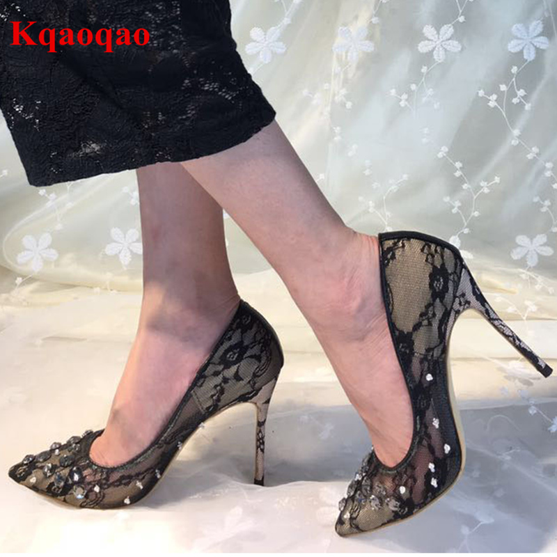 Pointed Toe Sexy Lace Women Pumps Shallow Crystal Decor Stiletto High Thin Heels Embroidered Wedding Party Office Bride Shoes moonmeek new arrive spring summer female pumps high heels pointed toe thin heel shallow party wedding flock pumps women shoes