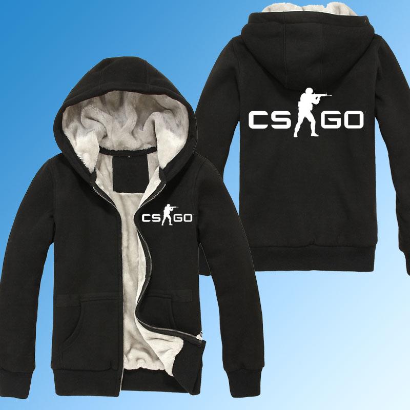 CSGO CS:GO Winter Zipper Thicken Hoodies sweatshirt Men's Fleece Full Jacket Cotton Cozy Hooded Pullover Outwear Coat