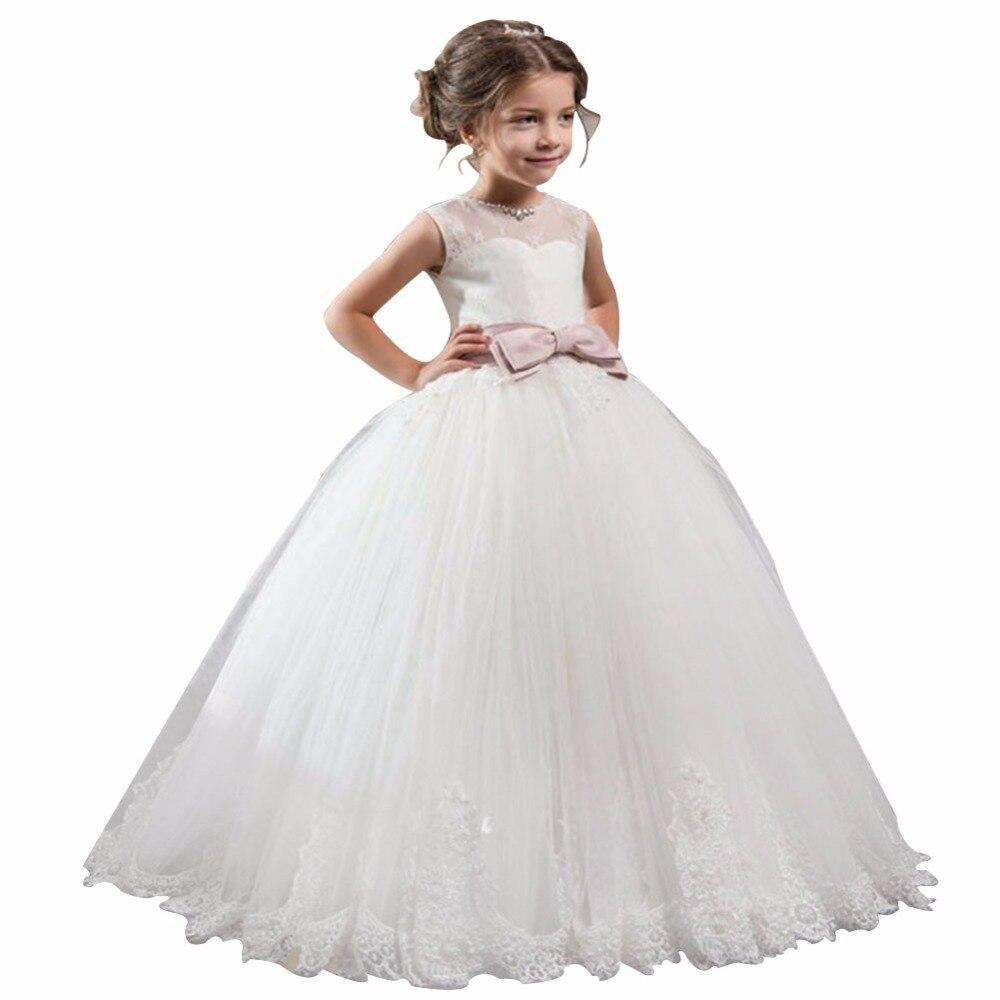 Zyllgf Bridal Indah Puffy Sleeveless Lantai Panjang Tulle Anak Celana Jeans Original Rsby 2835 Pageant Gaun Gadis Kecil Bola Dengan Busur Fp21