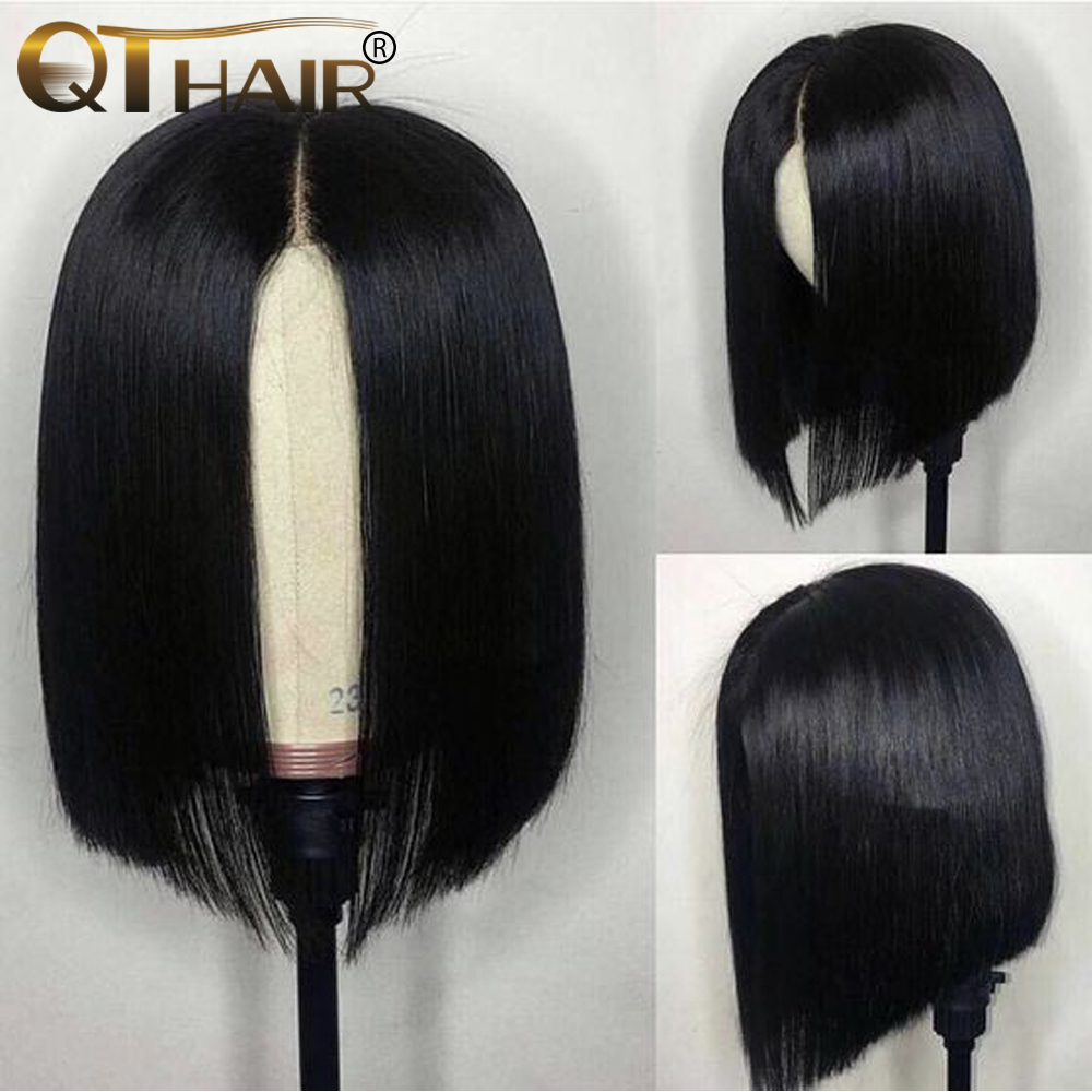 QT Short Lace Front Human Hair Wigs Bob Wig with Pre Plucked Hairline 4x4 Lace Wig