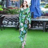 Green Long Dresses European Women Fashion High Street 2017 Summer Floral Print Full Sleeve Loose Split Casual Dress With Belt