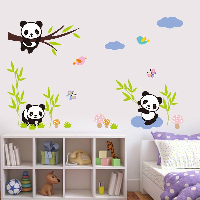 Us 0 62 35 Off Pandas Bamboo Wall Stickers Birds Tree Kids Room Baby Nursery Decor Living Bedroom Cartoon In From Home