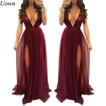 Women Summer Spaghetti Strap Party Dresses Elegant Long Maxi Dress Burgundy Backless Deep V-Neck Sequined Sexy Ball Gown Dresses