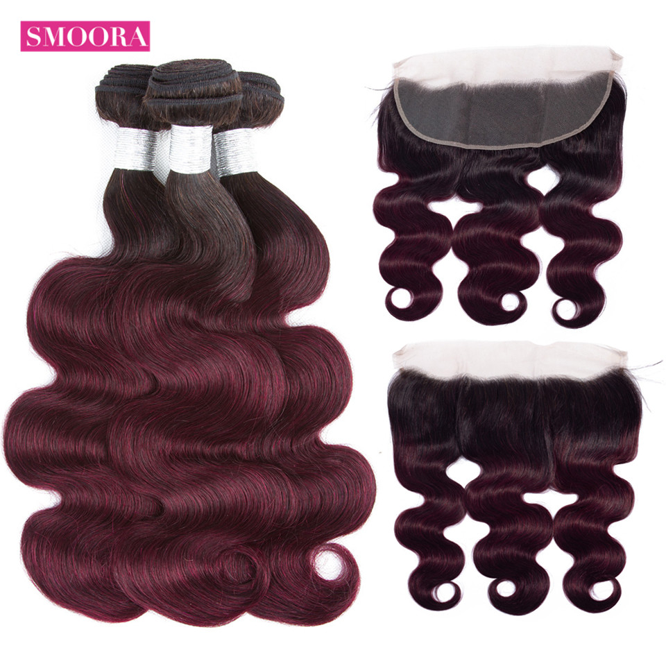 Body wave ombre 99J hair bundle with frontal