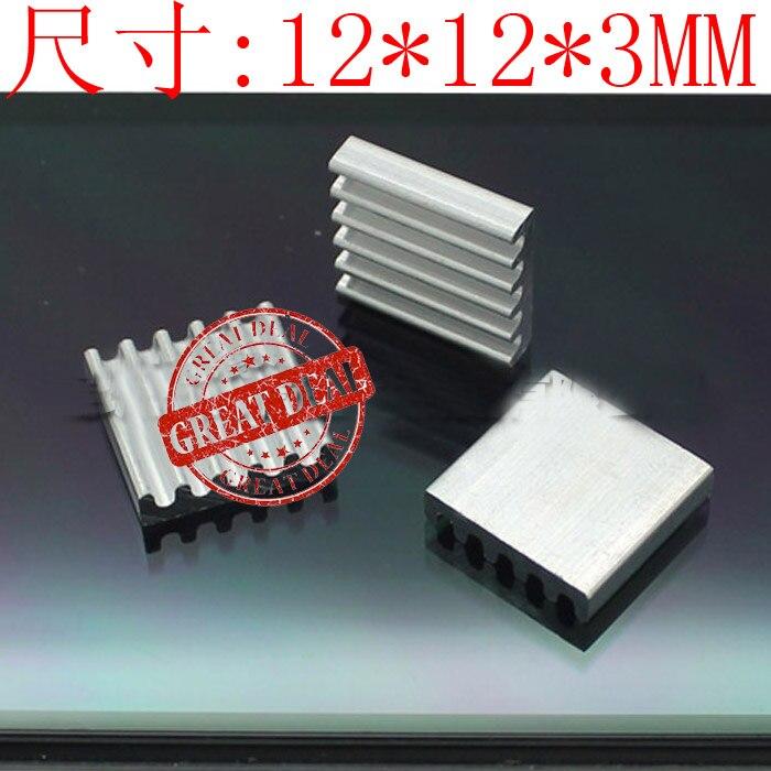 Free Shipping Wholesale 100PCS Aluminum Heatsink 12*12*3MM High Quality Radiator Silver Color IC Cooling