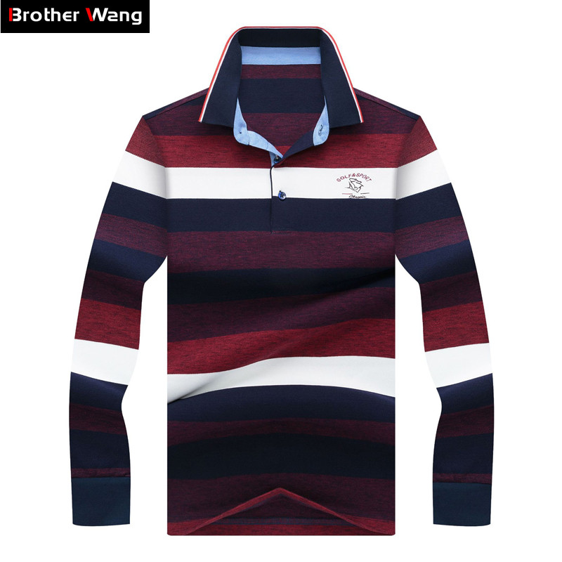 Brand Clothes 2019 Spring New Men's Large Striped Long-sleeved Polo Shirt Business Fashion Embroidered Casual Polo Shirt Male