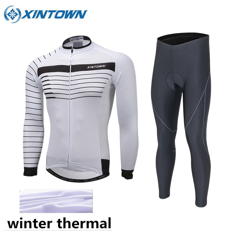 XINTOWN 2018 Cycling Jersey Winter Thermal Fleece Team Long Sleeves Cycling Set Bike Ropa Ciclismo Cycling Clothing Sports Suit red mock neck lettuce edge hem mini dress