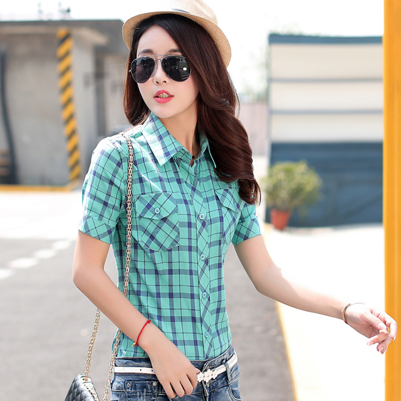 2017 Summer Woman Cotton Plaid Shirts Short Sleeve Female Blouses College Style Casual Tops New Fashion Plus Size Lady Clothes