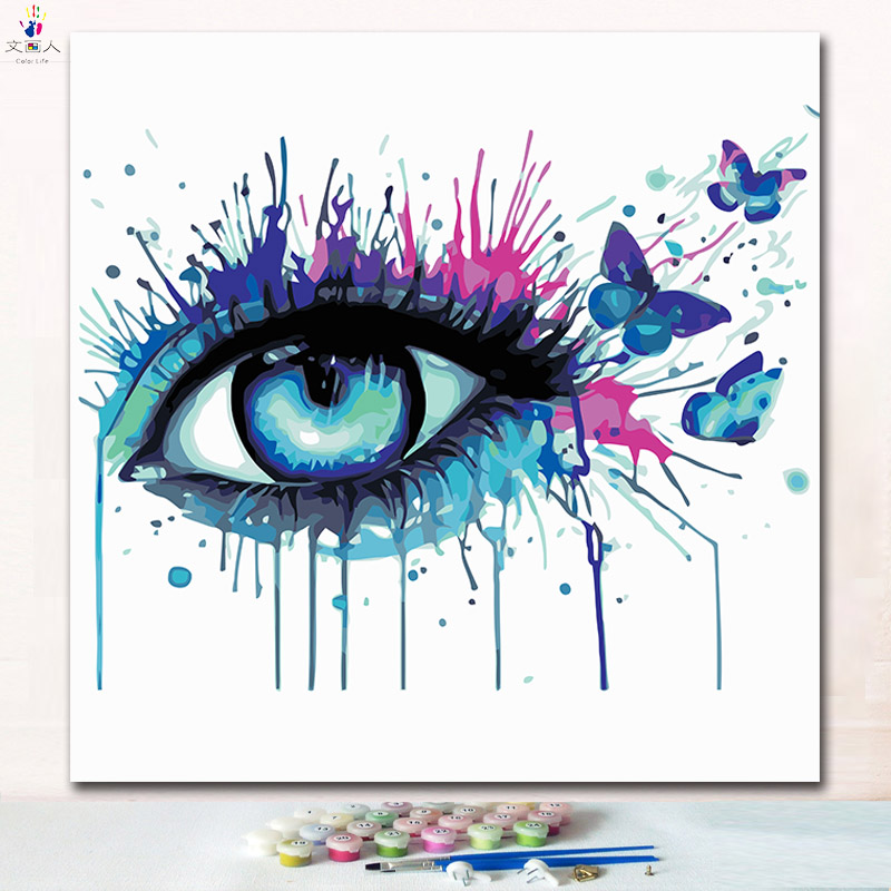 A colorful eye painting pictures coloring by number with paint colors colours art picture handmade modern hoom decoration frame