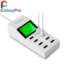 CinkeyPro EU 8 Ports LED Screen USB Charger Dock Wall Mobile Phone Adapter For iPhone 5 6 iPad Samsung nexus 5 Charging Device