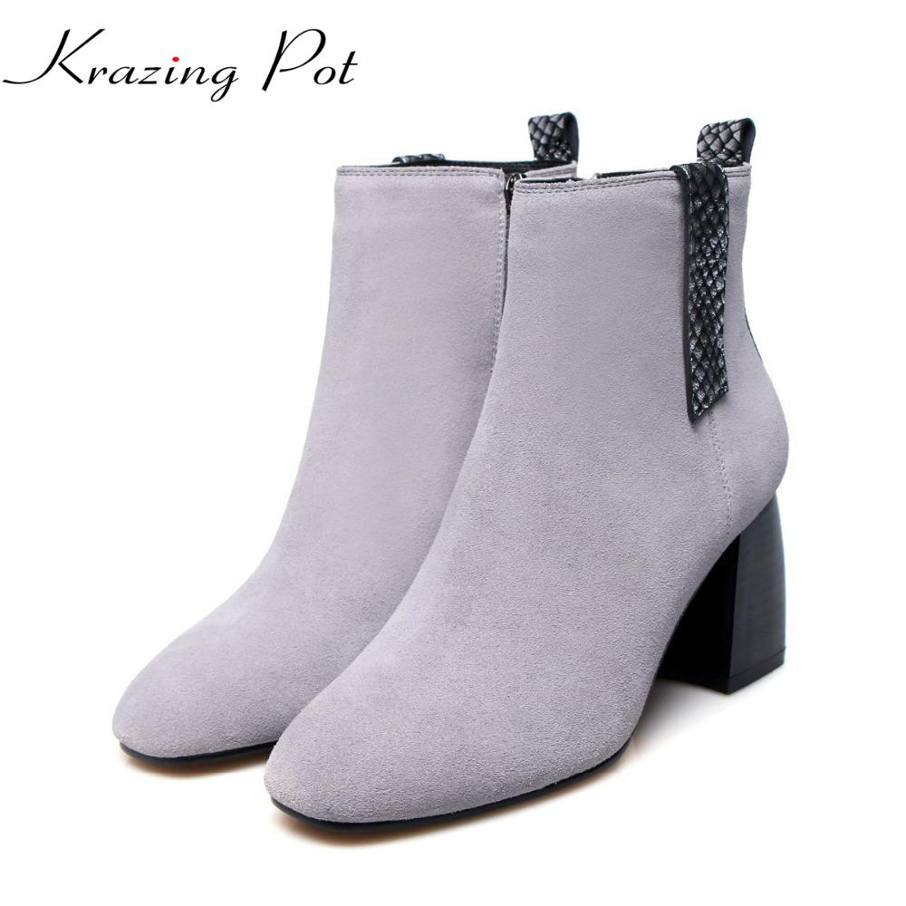 Krazing Pot genuine leather cow suede mixed color square toe rome preppy style nude boots women superstar party ankle boots L7f3 trusify 2017 oh attraction cow leather ankle zip short boots square toe med strange style european style boots