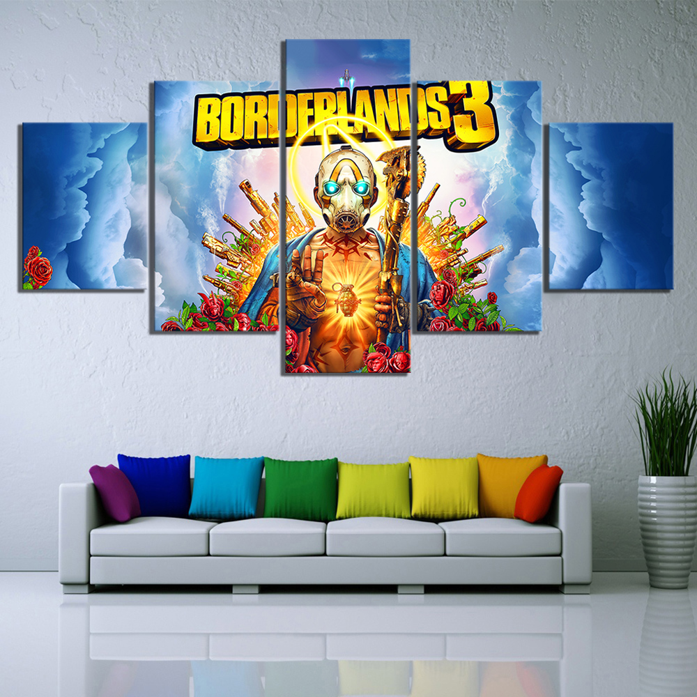 5 Piece HD Cartoon Pictures Borderlands 3 Video Game Poster Decorative Paintings Artwork Canvas Art for Home Decor Wall Art image