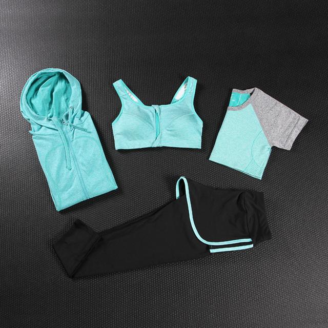 4 Quatro Conjuntos de 2017 Mulheres Ostentando Terno T-shirt + casacos + calça + colete Conjunto Agasalho Azul Rosa cinza Trainingspak Jogging Ternos Para Mulheres