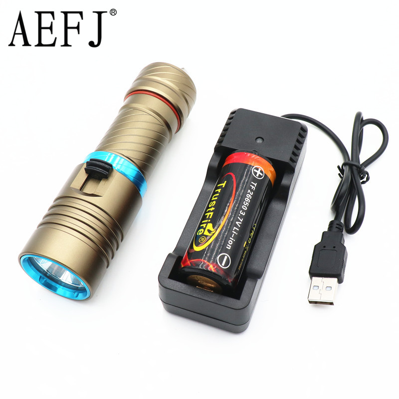 5000lumens XM-L2 LED Underwater Diving diver Waterproof Flashlight Torch Lamp white light+26650 battery+charger underwater 100m 7000 lumens 4xcree xm l l2 led waterproof scuba diver diving led flashlight torch lamp for 18650 26650 battery