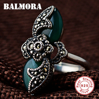 BALMORA Authentic 925 Sterling Silver Vintage Resizable Rings for Women Mother Lover Gift Mosaic Ring Party Jewelry MN20774