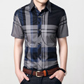 2017 men's summer Plaid short sleeved shirt 100% cotton slim fit casual fashion young steel buckle business shirt for men large