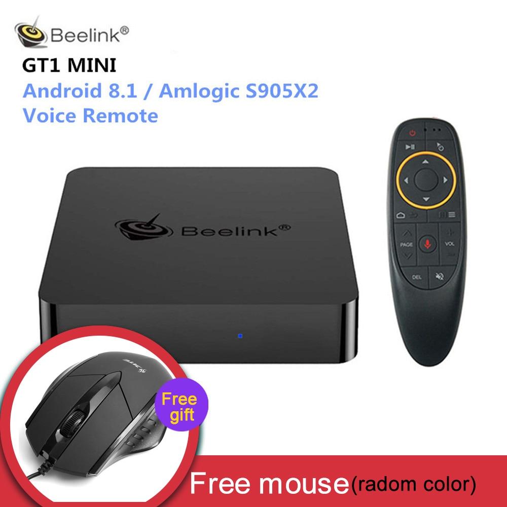 Beelink GT1 мини Smart ТВ коробка Android 8,1 Amlogic S905X2 голос дистанционного Декодер каналов кабельного телевидения 4 K 4 GB 32 GB/64 GB Медиаплеер с гарнитурой