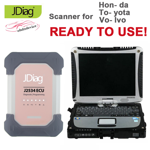 JDiag Elite II Pro J2534 for Hon- da/To- yota/Vo- lvo Brand VCI Scanner and Programmer with Software HDD and Laptop CF-19