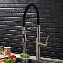 Высокое качество никель матовый Кухонный кран латунь кран горячей и холодной раковина кран водопроводной Воды кухня раковина весна кран смеситель