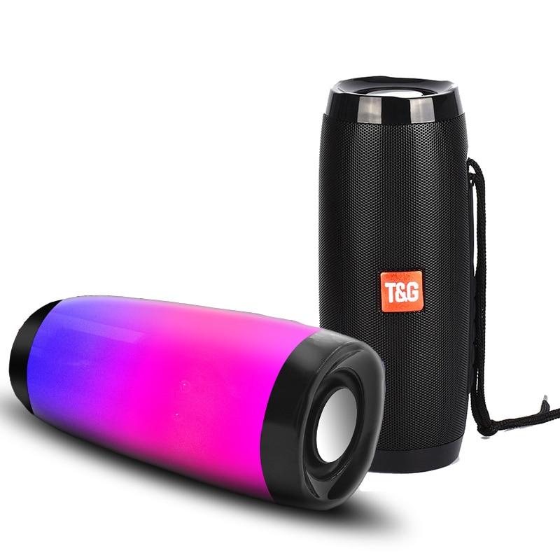 10 W Draadloze Bluetooth Speaker Met Kleurrijke Led Licht Outdoor Draagbare Kolom Fm Radio Tf Met Mic Handsfree Voor Computer 2.1