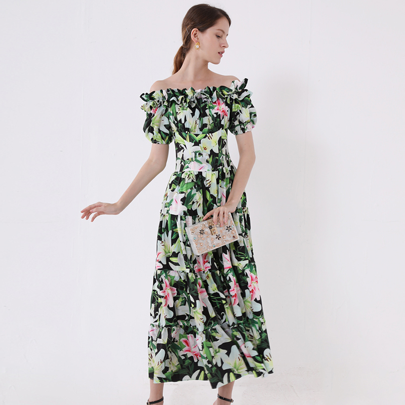 2019 Autumn Pretty Floral Print Long Dress High Quality Sweet Short Sleeve Slash neck Green Female
