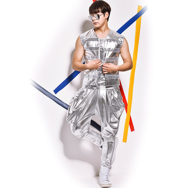 Summer New Men's Fashion Personality Sequined Slim Vest pants Set costumes Nightclub bar Singer Drums Jazz Dance wear