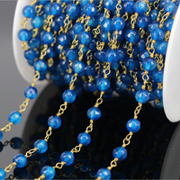 DIY 5Meter Blue Agate Faceted Round Bead Rosary Chain Plated Gold Brass Wire Wrapped Chain Fashion
