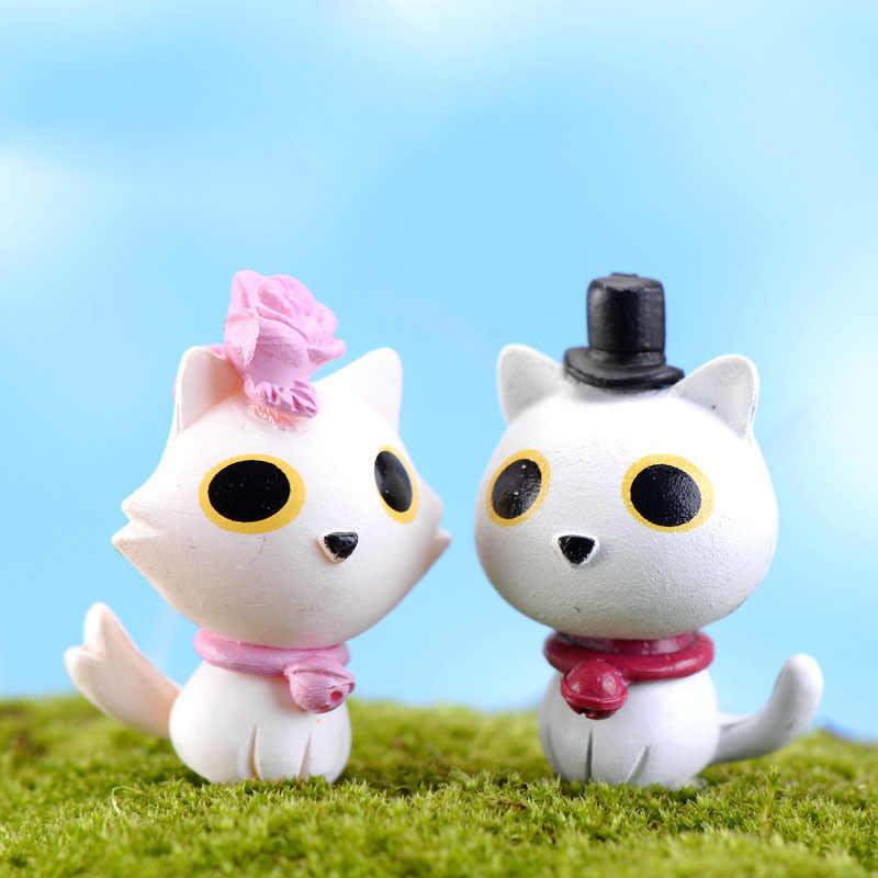 Branco Amantes Do Gato Animal Jardim De Fadas Em Miniatura Casa Casas Decoração Minecraft Micro Paisagismo Decoração DIY Acessórios