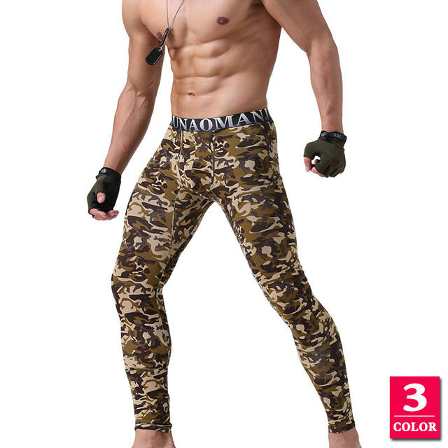Thermal Underwear Mens Leggings Printed Camouflage Hip Hop Sexy Long John Autumn Leggins Hombre Thermal Pants Modal Male Youth