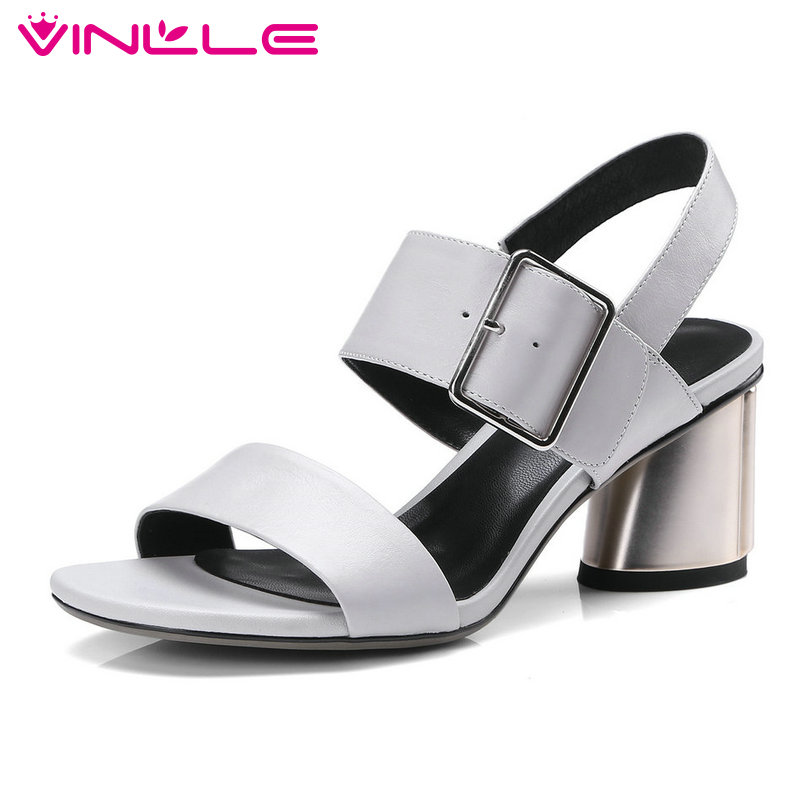 VINLLE 2018 Western Style Women Sandals Shoes Woman Ankle Strap Slingback Square High Heel Ladies Wedding Shoes Size 34-42 vinlle 2018 women autumn shoes ankle boots western style lace up square high heel round toe ladies motorcycle shoes size 34 43