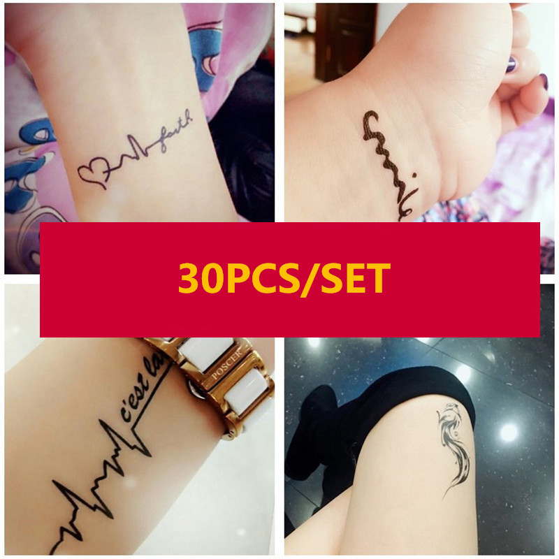 30pcs/set Temporary Tattoo Sticker Waterproof Letters Flower Cat Sexy Tattoo Men Women Body Finger Fake Tatuajes Temporales