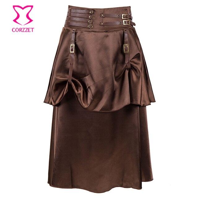 Corzzet Vintage Brown 2 Layer Satin Steampunk Skirt Victorian Gothic Low  Waist Skirts Women Costume e44beed3906