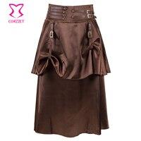 Corzzet Vintage Brown 2 Layer Satin Steampunk Skirt Victorian Gothic Low Waist Skirts Women Costume