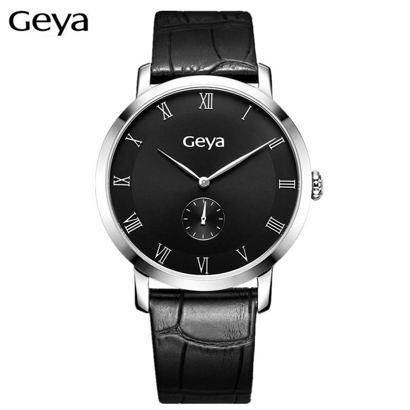 ФОТО HOT Geya Luxury Lovers Couple Watches Men Date Day Waterproof Leather Strap Women Stainless Steel Quartz Wristwatch Montre Homme