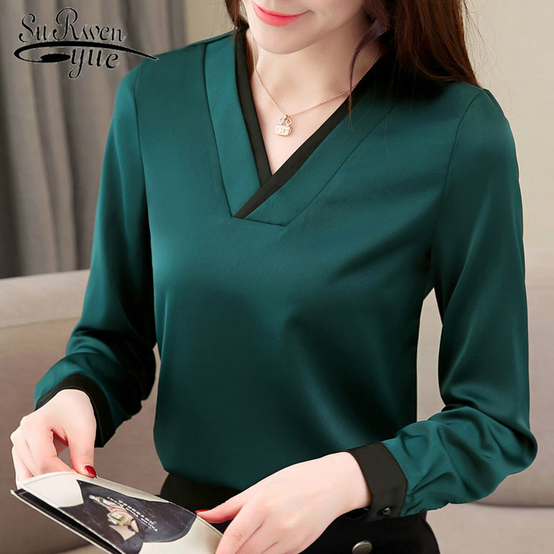 womens tops and   blouses   spring 2019 solid chiffon   blouse     shirt   long sleeve women   shirts   v collar office   blouse   women 1755 50